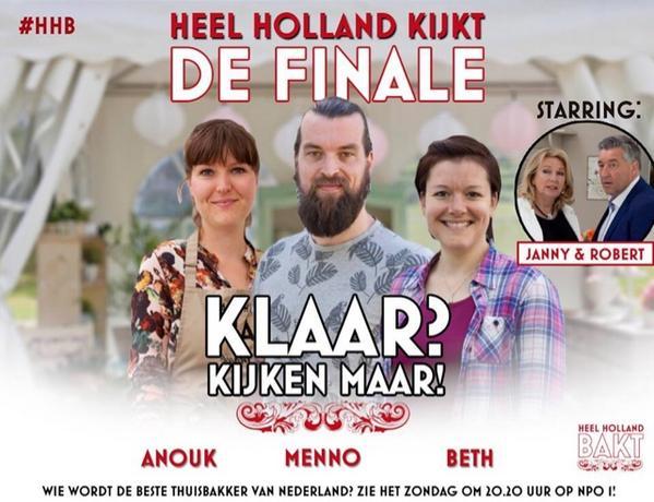 Zondag de finale van Heel Holland Bakt! Retweet en maak kans op het Heel Holland Bakt receptenboek... #hhb http://t.co/vVtflkk9Yu