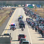 Cars along the side of the Highway of Heroes in a show of respect for #CplNathanCirillo   #Ottawa #Canada  #salute http://t.co/uU5L49W6z1
