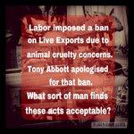 RT @Stiggypuff: Live Export is a torture trade :0*( #auspol, #ausvotes, #lifebeforeabbott http://t.co/MzwSqiZlfk