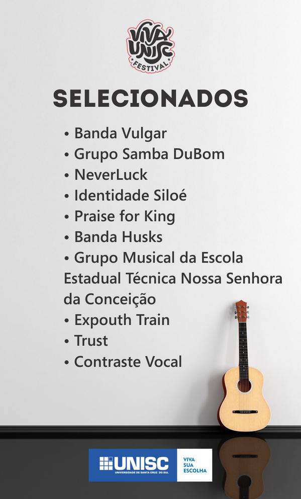Saiu a lista dos grupos selecionados para o Primeiro Viva Unisc Festival! Mais informações em http://t.co/tEafGoFZpS http://t.co/KFS7FbtQw3