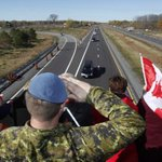 Military procession carrese body of Cpl. Cirillo down Highway 401 and the Highway of Heroes, bound for Hamilton. http://t.co/BOxbWkCvXQ