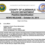 The press release from #Albemarle Police on positive ID of remains as those of #HannahGraham @nbcwashington http://t.co/8PHNYVZ5wn