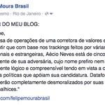 Trackings dos bancos dão Aécio à frente, com 5 a 8 pontos de vantagem sobre Dilma. http://t.co/BZ45c34NBl