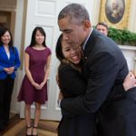 He Look scared@FOX4:photo of Nina Pham hugging President Obama. Pham declared Ebola-free today http://t.co/Hr0BeOzWYw http://t.co/fM3pNfx8lJ