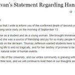 RT @AugensteinWTOP: Statement from UVA president Teresa Sullivan on death of #HannahGraham http://t.co/nUhYNZSoJn http://t.co/lkGn9inbTw