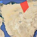 شكل توضيحي لحدود منطقة الطوارئ وحظر التجول في شمال سيناء كما فهمتها من قرار السيسي http://t.co/tPzsbD5n7l