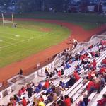 McKee Stadium in Jeannette starting to fill up. Jeannette plays host to rival Greensburg Central Catholic. http://t.co/oEO8KUHyzi