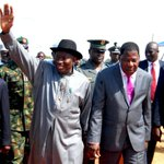 Pres. Jonathan & Pres. Yayi at the Seme-Krake Nigeria Benin Joint Border Post Foundation Laying Ceremony, Frid. http://t.co/3dZf43vGeI