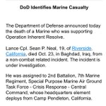 Pentagon says 19-yo Marine Lance Cpl. died in Iraq supporting anti-ISIS operations. Non-combat related, under review. http://t.co/bLM2OM1ZZh