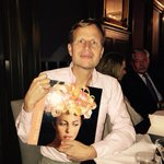Will cotton with an amazing book of his paintings  will is having dinner chez moi