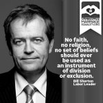 No faith, no religion should ever be used as an instrument of division or exclusion. Bill Shorten. #Auspol #WApol http://t.co/9yDTTYMf48