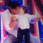 .@iamsrk and his youngest son AbRam in #HappyNewYear http://t.co/h5u3X0T0ZQ