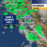 Scattered showers when 4th game of #WorldSeries starts tomorrow night. @SFGiants can handle the rain! http://t.co/HOGH7iQroB