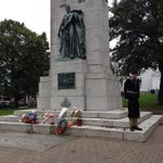 A moving sight at the #Halifax cenotaph following todays gathering. http://t.co/qzlXQRQn56