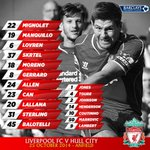 RT @LFCphoto: Your Liverpool FC team to face Hull City today at Anfield in the Premier League. 1 hour until kick off. #LFC #LIVHUL http://t.co/ve8HFrKVkg