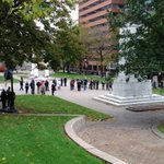 Large crowd starting to gather in #halifax for cenotaph vigil. @globalhalifax http://t.co/dTMDGf4AFy