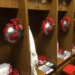 Ready to go to battle in our #Battlescar helmets and all whites today! #ChopNebraska #uniswag http://t.co/4sJ4Gd0Bwn