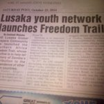 Lusaka Shapers are featured in todays Post newspaper for the Freedom Trail. http://t.co/sOrEDbwjJP