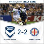 HALF TIME: And it's a goalfest at @EtihadStadiumAU, goals from @10Archie & @BesartBerisha7 #MelbDerby http://t.co/0SY7HIMo7M
