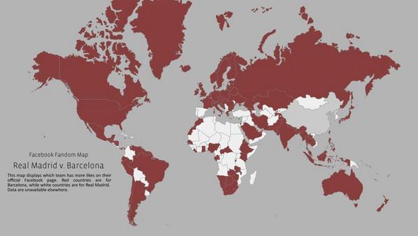 Facebook elabora el mapa mundial del Madrid-Barça. Abrumadora mayoría de simpatizantes culés http://t.co/iI3Yqd2qY6 http://t.co/xBzduvEFJk