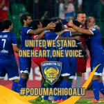 RT @ChennaiyinFC: #PoduMachiGoalu guys Tweet and RT. Lets stand united on and off the field. #LetsFootball #ChennaiyinFC #CHE http://t.co/KYqCsZtlTY