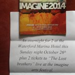 RT @ederoiste: Won this yesterday @PatKennyNT Thank you! @imagine_fest @garterlane @thelostbrothers and #Waterford Marina Hotel Xx http://t.co/UhNxwFMBiJ