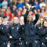 PHOTO: @lfcladies captain @gembon23 and her teammates parade the WSL trophy at Anfield #LFC http://t.co/w3dKY97X5J