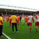RT @LFC: PHOTOS: #LFC warming up ahead of this afternoons clash with @HullCity at Anfield http://t.co/SEP25mAIV9
