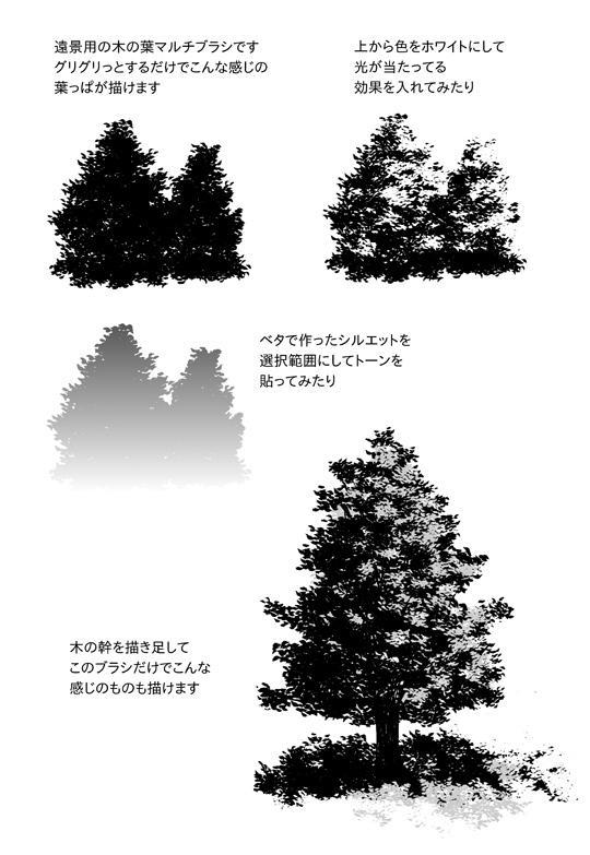CLIPにコミスタ用の自作ブラシ「木の葉遠景用ブラシ」を素材として登録してみました~。マルチブラシになってます。無料にしてますのでコミスタ使いさんよかったら使ってやって下さい。http://t.co/uZwMpxiyZ4 http://t.co/r0Dzxz95js