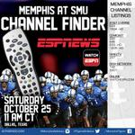 Here is todays channel finder for #MEMvsSMU. Watch it on ESPNews or WatchESPN at http://t.co/jXWVlDUiO5 #gotigersgo http://t.co/JY2DyuAi3n