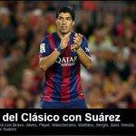 RT @prensa_libre: RT @tododeportes_pl:   SUÁREZ TITULAR   El uruguayo debuta con el Barça ante el Real Madrid. Fuente: @FCBarcelona_es http://t.co/q6L5FCP3ME
