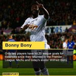 RT @BBCSport: FT Swansea 2-0 Leicester - Wilfried Bony scores twice as #swans go 6th in the Premier League http://t.co/7VZrsFErnt http://t.co/EC3HMEcCM9