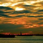 Halloween sky over New York Harbor via @oneandonlycory: #weather #NYC http://t.co/aHyMnoabRy