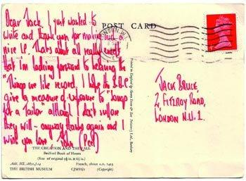 """I just wanted to write and thank you for making such a nice LP."" A postcard from John Peel to Jack Bruce, 1969. http://t.co/2XMTrOUHAk"