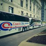 Buses are lined up ready to take the team to @heinzfield. #GTvsPITT kicks off in 2.5 hours. #TogetherWeSwarm http://t.co/wkm6t1Erp0
