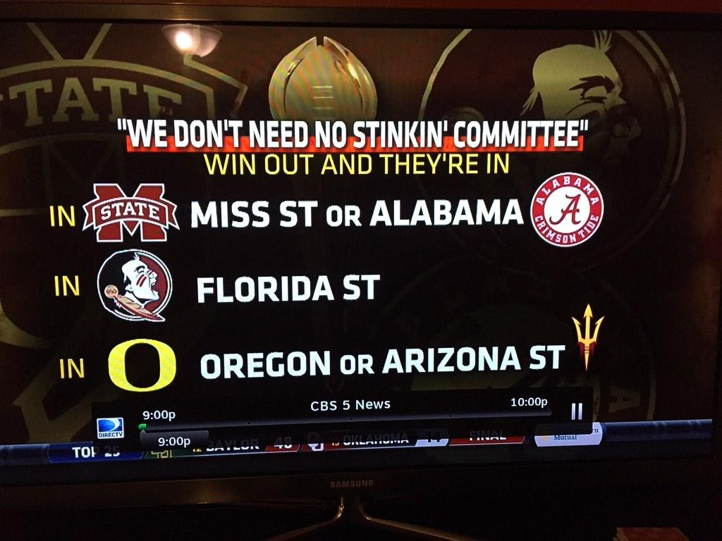 Surreal moment just now during LSU/Bama game when this graphic popped up: http://t.co/X6S1nyoXy5