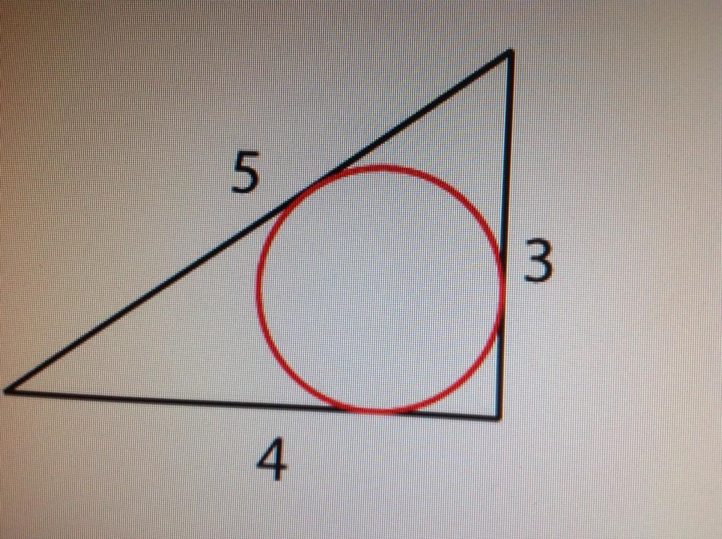 #fridaypuzzle: What is the area of the circle inscribed inside a 3, 4, 5 right-angled triangle? #fb http://t.co/uL7Hecj9he