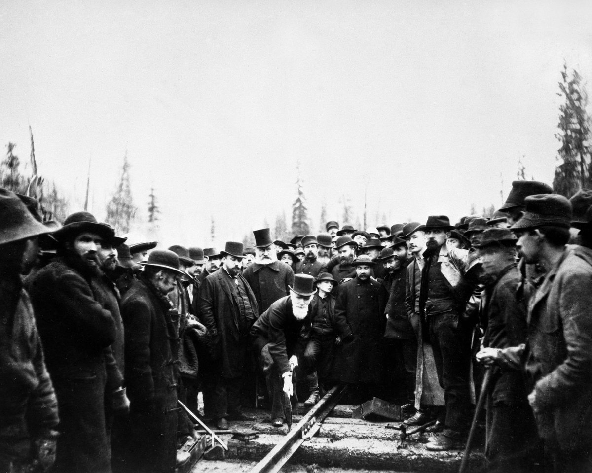 Today we celebrate our 129th anniversary & #NationalRailwayDay with the driving of the #TheLastSpike in 1885 http://t.co/kXKez4CNGs