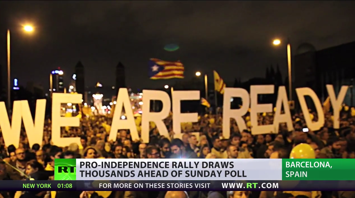 """@RT_com: 1 Day to Go: Catalonia gears up for 'illegal' independence vote http://t.co/63Wnr3R4fo @portnayanyc http://t.co/y6Ey3eZt4m"""