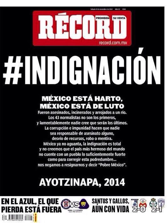 La portada del principal diario deportivo de México. http://t.co/y3SpVWyfKE #Ayotzinapa