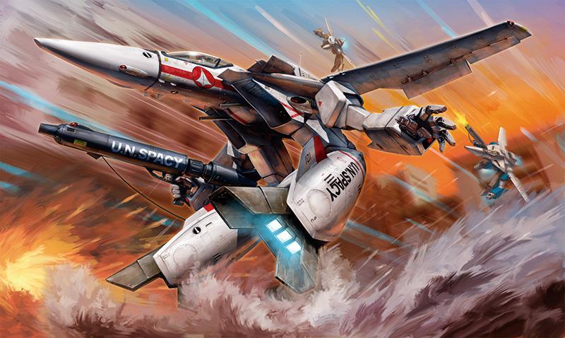 Hasegawa 1/72 《MACROSS》VF-1J/A Valkyrie Gerwalk Mode Boxart, como siempre por el maestro Tenjin http://t.co/ds7SdouA1R