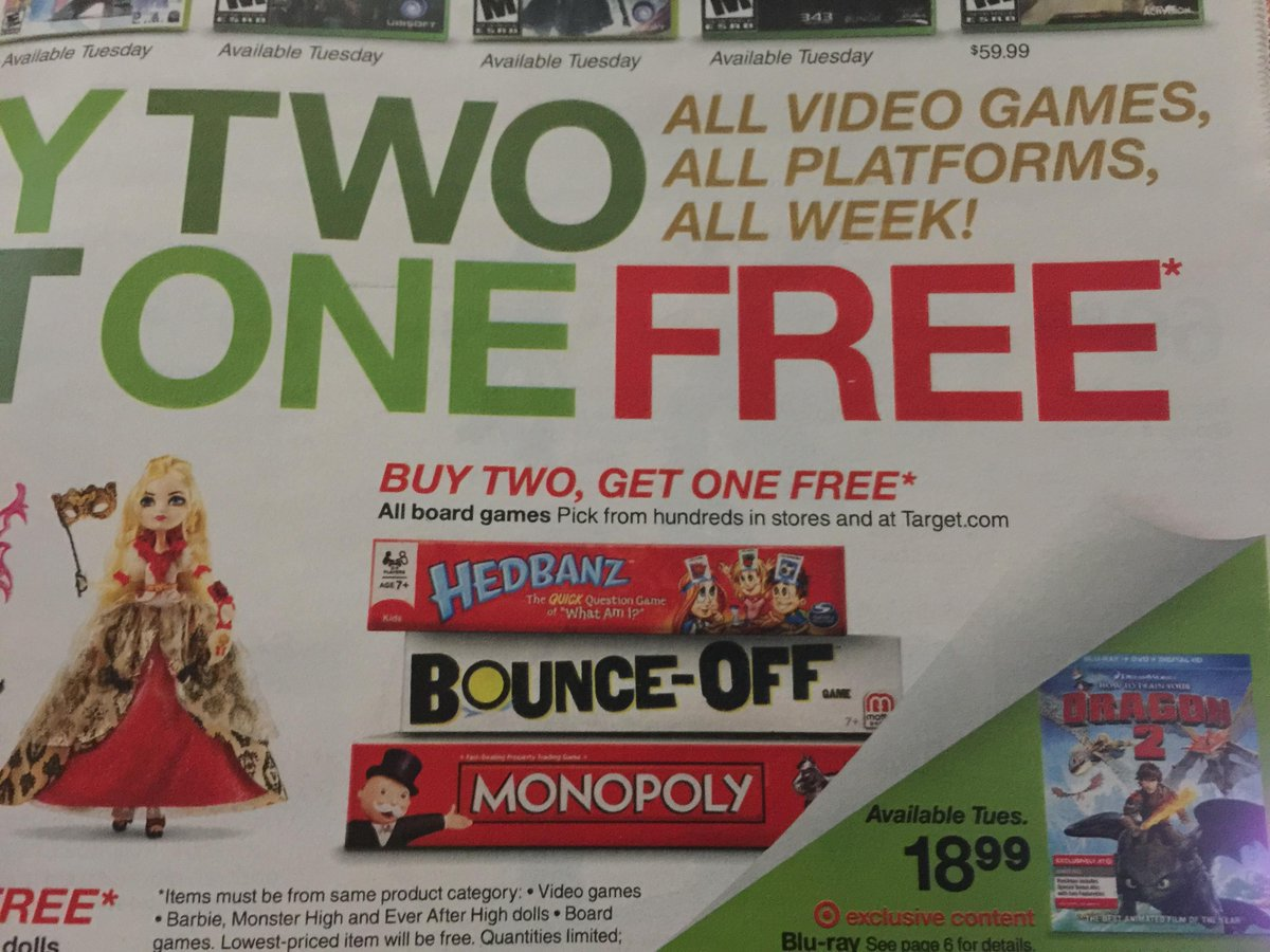 It appears that starting tomorrow, Target is having a Buy Two Get One Free sale on all board games and video games. http://t.co/j3pImAKaN0
