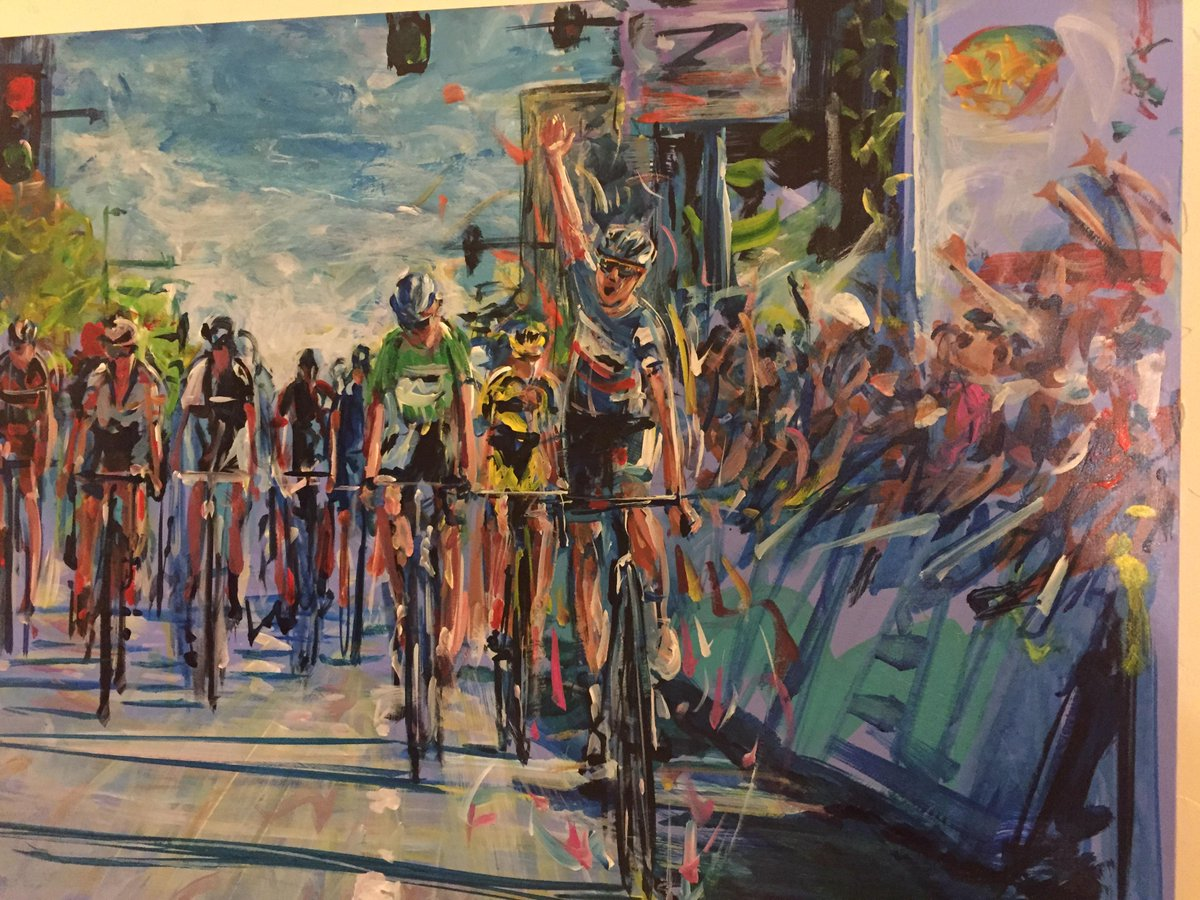 Here is @alex_howes winning stage 7 of the @USAProChallenge, in my living room. Painting by David Gonzales. http://t.co/xfkK9PZQih