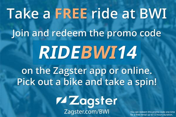 FREE Zagster BikeShare available at BWI! Use promo code RIDEBWI14 w/ @Zagster app. See--