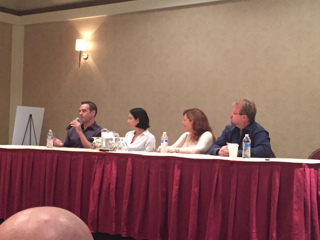 Writers panel is under way and we've got a wonderful surprise, AWM showed up too! #CastleCon http://t.co/W5O5OVg4Ld