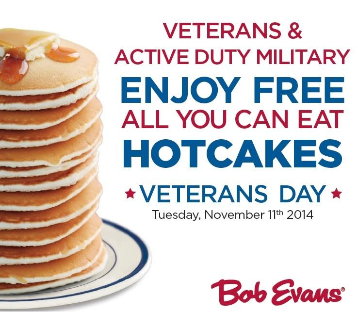 Free All You Can Eat Hotcakes to veterans & military personnel at Bob Evans restaurants on #VeteransDay! #ThankYou http://t.co/gQBN19RVfu