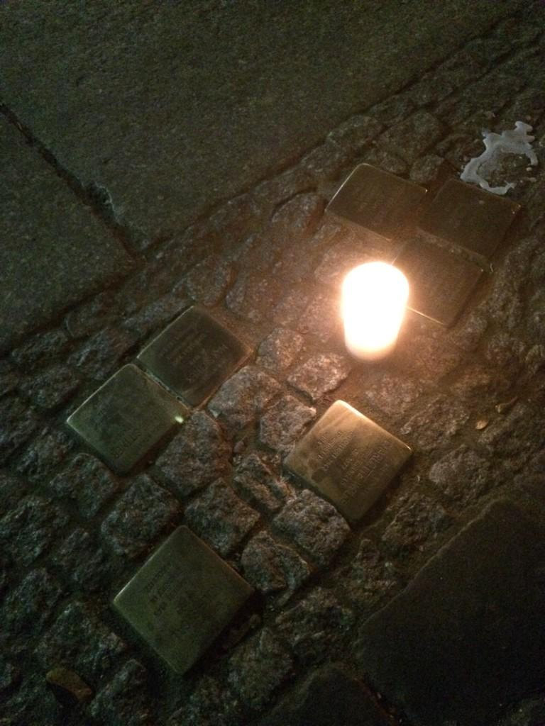 This candle in front of a Berlin house where Jews lived reminds us that it's also the anniversary of Kristallnacht. http://t.co/ckVQOcDMBD