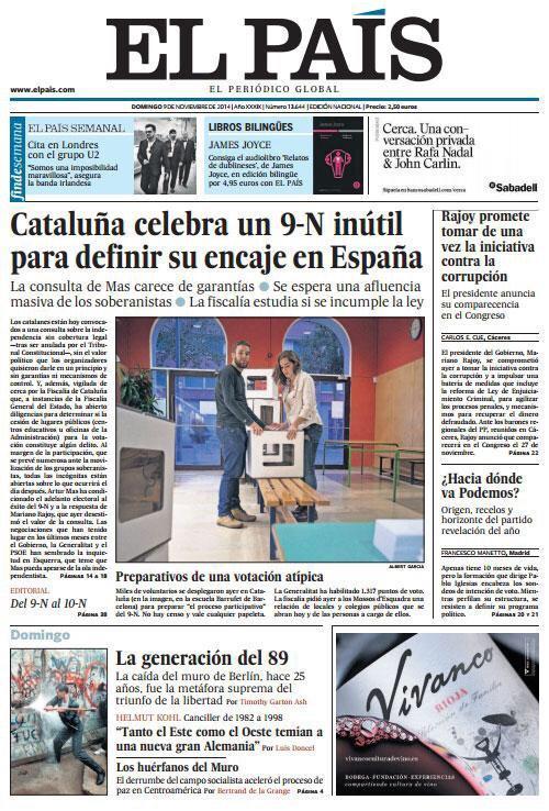 El 9-N és tan inútil que El País li dedica l'obertura de la portada. http://t.co/vUtVRve1Hi
