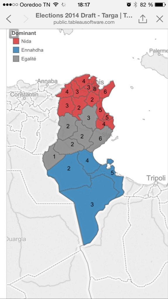 La carte des résultats provisoires #TnElect2014 : Nida domine au nord, ennahdha au sud, égalité au centre. http://t.co/p7vUtTx1kP