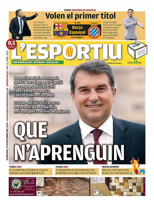 Portada @lesportiucat Que n'aprenguin @FCBarcelona_cat i supercopa @FCF_CAT @ue_cornella @CESabadell @SOCatalunya http://t.co/pnKXBUiZQ9